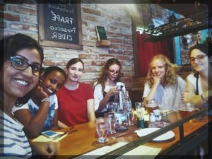 Our first lunch together after school European Summer school, Prague