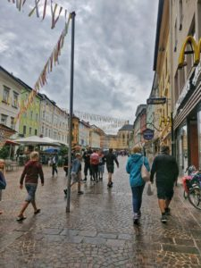 Adorned with flags, city center of Villach