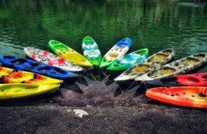 different colored boats