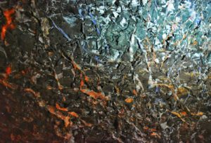 salt deposits shiny in hallein salt mine, austria