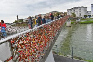 Love lock bridge in Salzburg, Austria