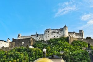 View of Hohensalzburg Fortress from Kapitelplatz, Salzburg, Austria