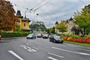 Traffic circle in Salzburg, Austria