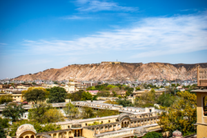 Amer fort from Hawa Mahal in Jaipur during day