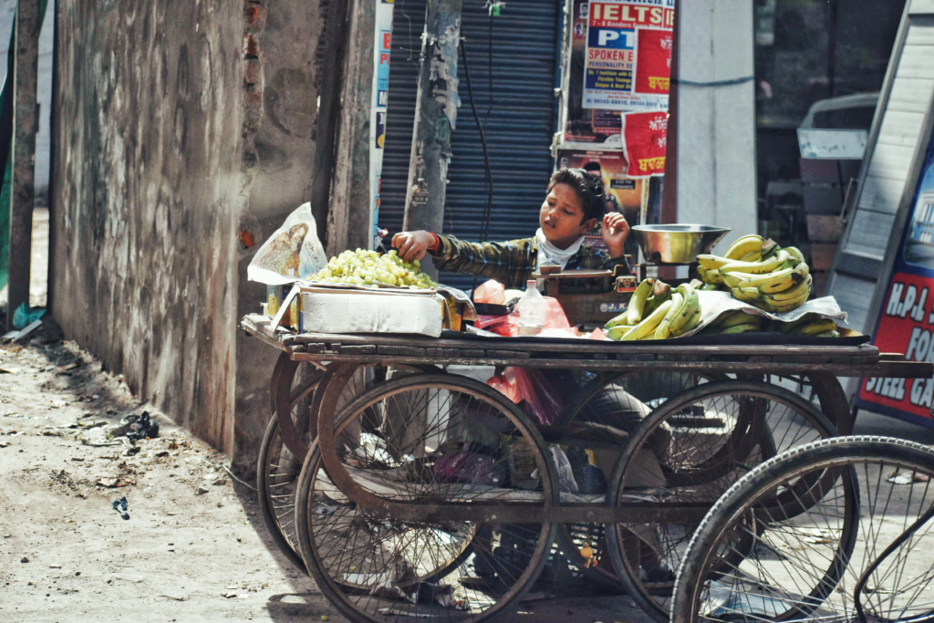 A child selling vegetables in Amritsar City