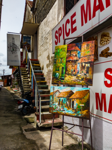 Spice Market with paintings on display