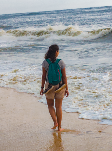 Strolling on the Marari beach in Alleppey