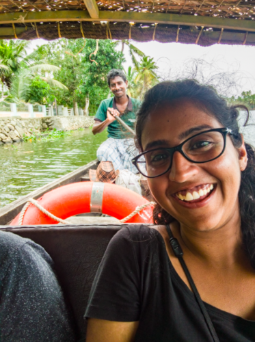 Picture with Laali, our canoe rider in the background