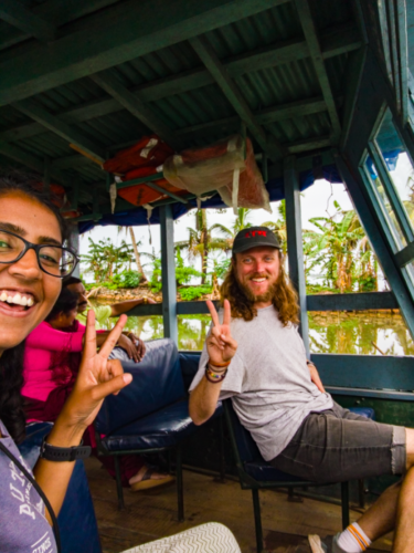 Alex and Ajita on their way to Alleppey on a public ferry