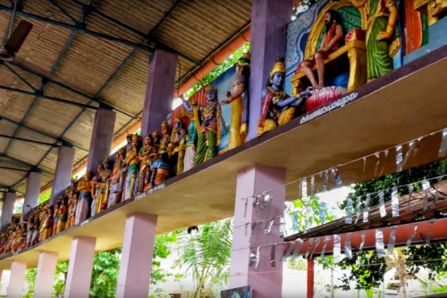 Idols adorning the walls of Sree Bhuvaneswari Temple